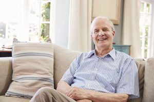 Man enjoys his senior living options.