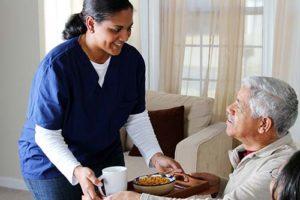 Man enjoys amenities at Discovery Village Senior Living.