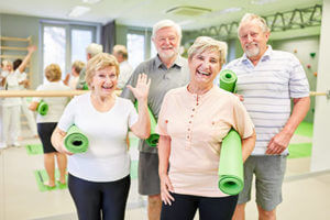 Seniors enjoy Dimensions Health & Fitness at Discovery Village.