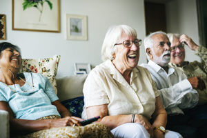 group of friends enjoying senior independent living homes