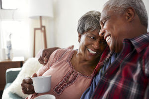 couple happy in their residential senior living options