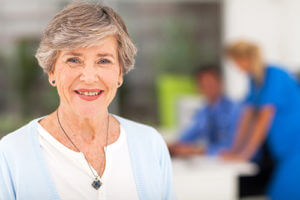 Woman smiles at senior independent living in Melbourne, FL.