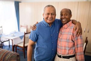 two senior men excited to go out for dominion texas senior living activities