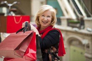 senior woman with shopping bags during tampa florida senior living activities
