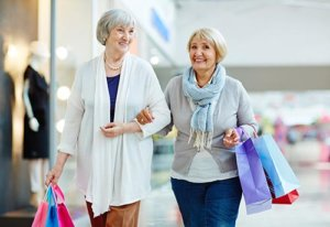 two seniors shopping at the mall during columbia sc senior living activities