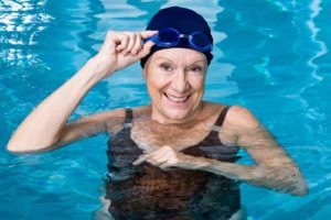 Senior woman on swimming pool