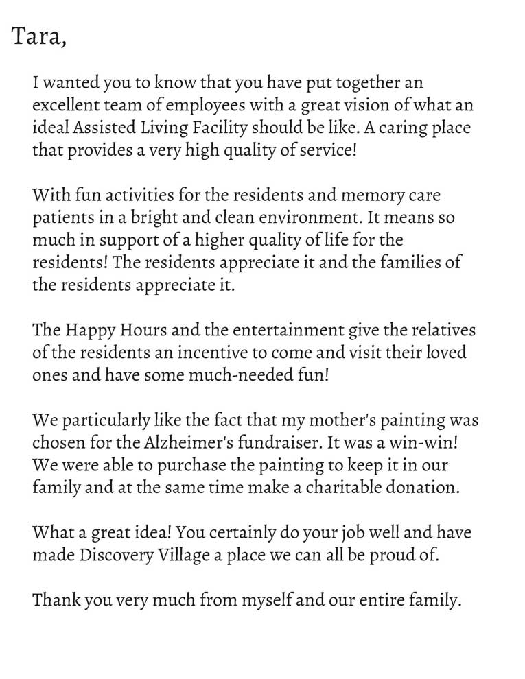 Discovery Village Letter