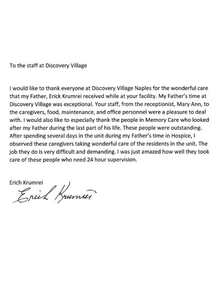 Discovery Village Letter (Naples)